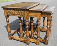 Small Antique Style Nest of Oak Coffee Tables